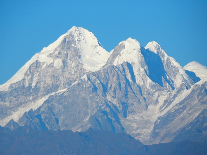 Blick von Nagarkot in Nepal auf die Berge des Langtang, Himalaya.