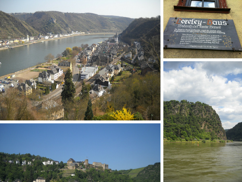 Sankt Goar am Mittelrhein mit Loreleyhaus, Loreley und Burg Rheinfels.